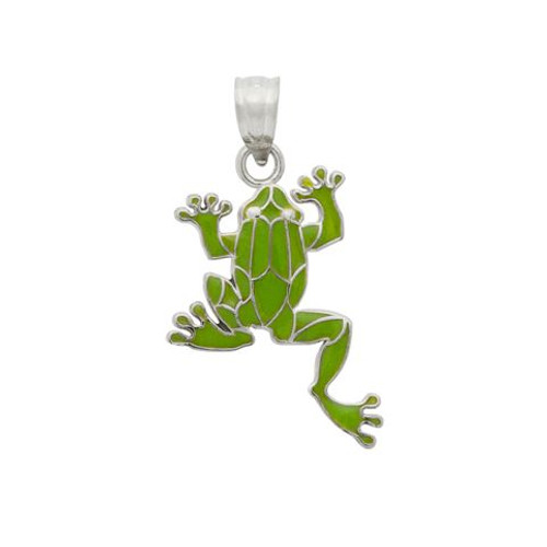 RHODIUM PLATED ENAMELED FROG CHARM