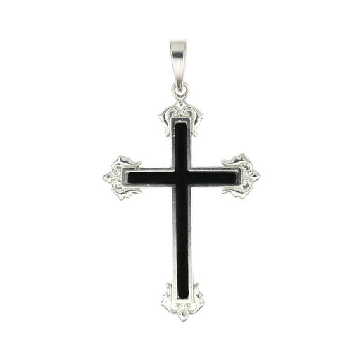 STERLING SILVER ELEGANT CROSS PENDANT WITH BLACK CENTER