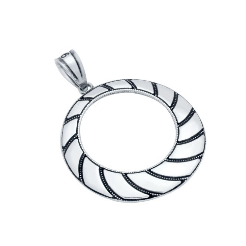 STERLING SILVER STRIPED CIRCLE PENDANT