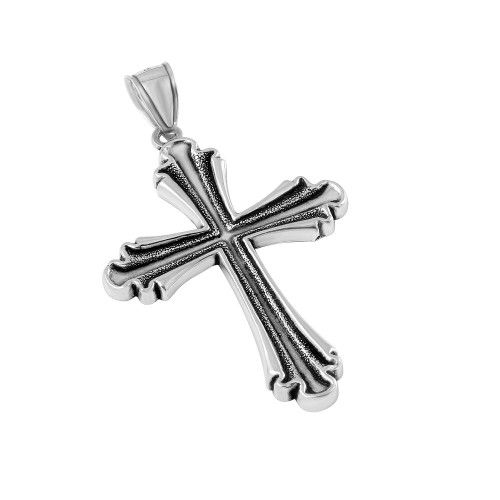 STERLING SILVER 37MM STYLIZED CROSS PENDANT