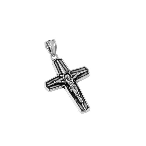 STERLING SILVER 19MM STYLIZED CRUCIFIX CROSS PENDANT