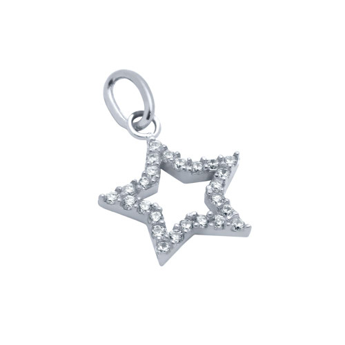 RHODIUM PLATED CZ STAR PENDANT