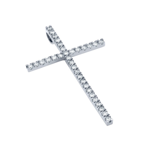 LARGE RHODIUM PLATED CROSS PENDANT WITH CZS