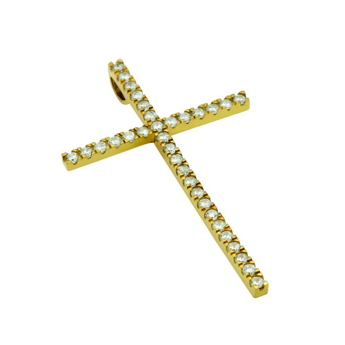 LARGE GOLD PLATED CROSS PENDANT WITH CZS