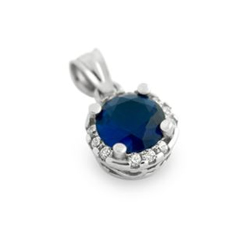 RHODIUM PLATED BLUE ROUND CZ PENDANT WITH ALL AROUND SMALL CLEAR CZ STONES