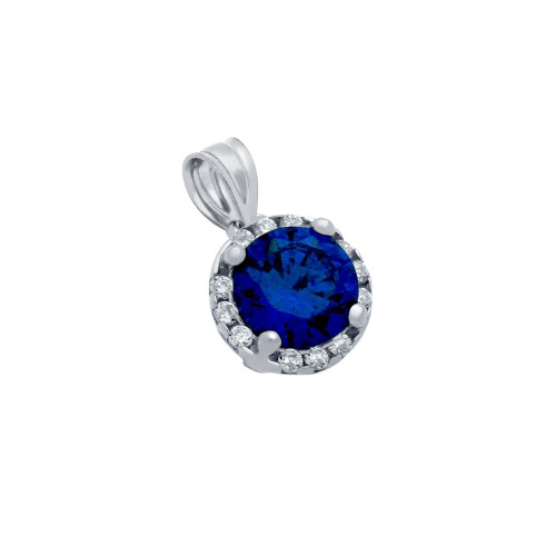 NAVY BLUE CZ RHODIUM PLATED ROUND  PENDANT WITH ALL AROUND SMALL CZ STONES