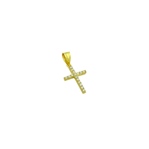 SMALL GOLD PLATED SMALL CZ CROSS PENDANT