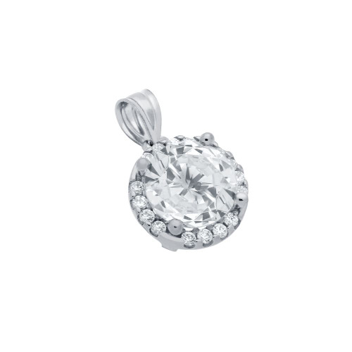 RHODIUM PLATED 7.5MM ROUND CZ PENDANT WITH ALL AROUND CZ STONES