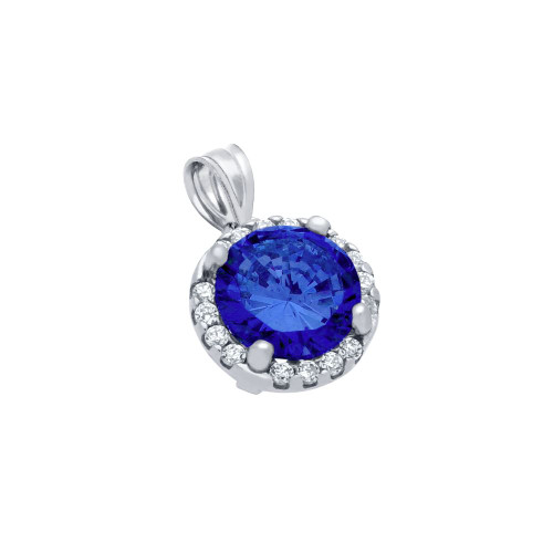 RHODIUM PLATED 7.5MM BLUE ROUND CZ PENDANT WITH ALL AROUND CLEAR CZ STONES