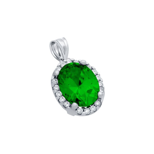 RHODIUM PLATED 8X10 GREEN OVAL CZ PENDANT WITH ALL AROUND CLEAR CZ STONES