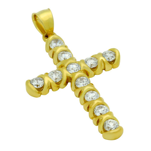 GOLD PLATED CZ XO STYLE CROSS PENDANT