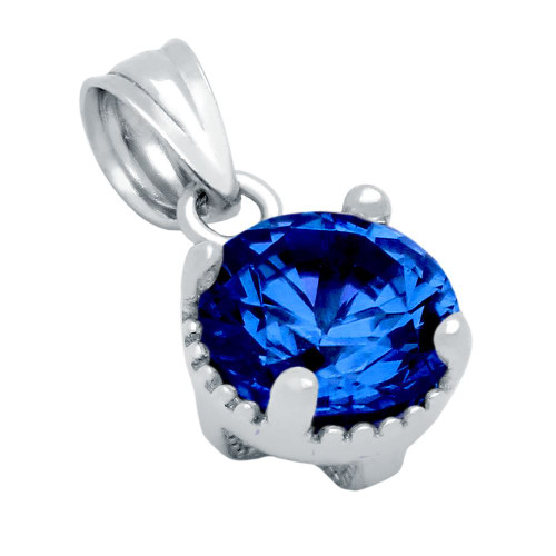 RHODIUM PLATED SEPTEMBER BIRTHSTONE SAPPHIRE BLUE ROUND CZ PENDANT