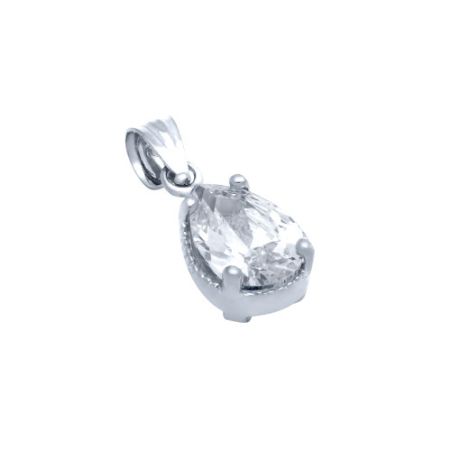 RHODIUM PLATED TEARDROP CZ PENDANT