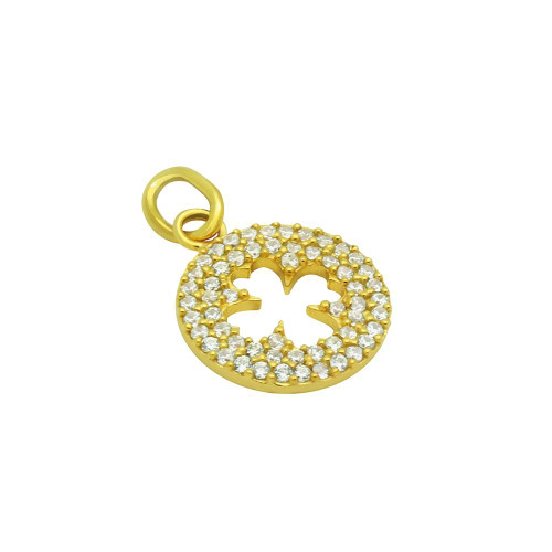 GOLD PLATED CZ CUT OUT CLOVER PENDANT
