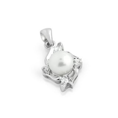 RHODIUM PLATED RESHWATER PEARL AND CZ PENDANT
