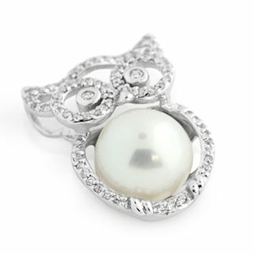RHODIUM PLATED FRESHWATER PEARL AND OWL SHAPE CZ PENDANT