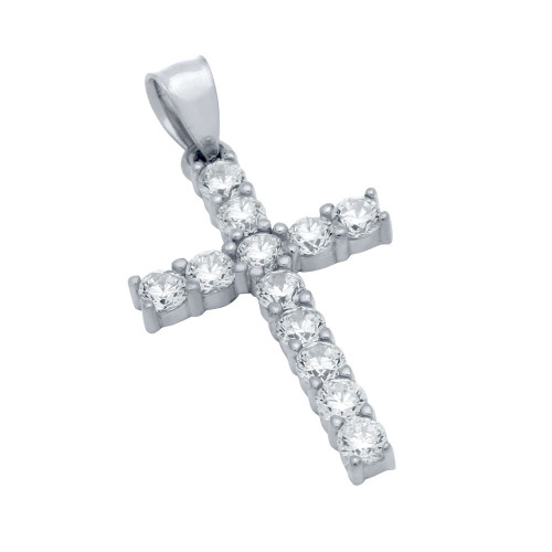 RHODIUM PLATED BASIC CZ CROSS PENDANT