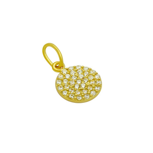 GOLD PLATED 9MM CZ PAVE DISK PENDANT
