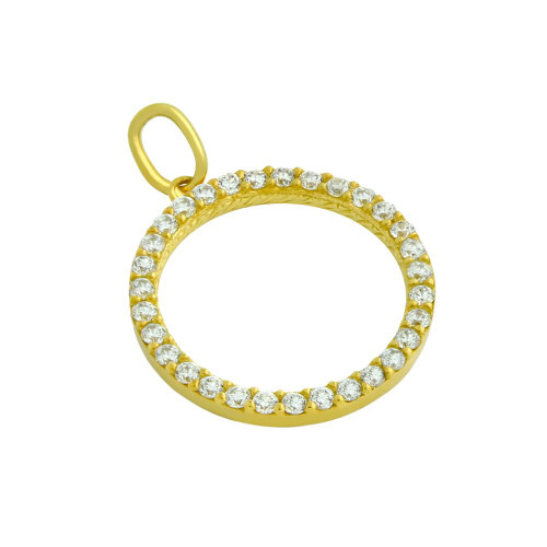 GOLD PLATED 18MM CZ ETERNITY CIRCLE PENDANT