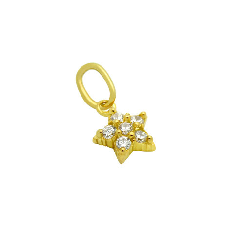 GOLD PLATED STAR CZ CLUSTER PENDANT