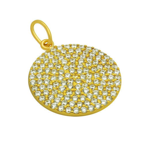 GOLD PLATED 17MM MEDIUM CZ DISK PENDANT