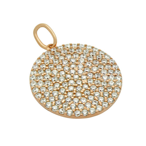 ROSE GOLD PLATED 17MM MEDIUM CZ DISK PENDANT