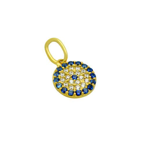 GOLD PLATED BLUE EYE CZ PAVE PENDANT