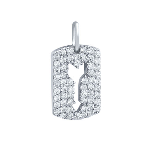 RHODIUM PLATED CZ PAVE TAG PENDANT WITH CUTOUT ARROW