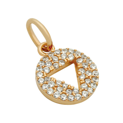 ROSE GOLD PLATED CZ DISK PENDANT WITH CUTOUT TRIANGLE