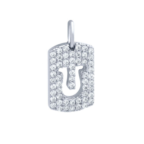 RHODIUM PLATED CZ PAVE TAG PENDANT WITH CUTOUT HORSESHOE