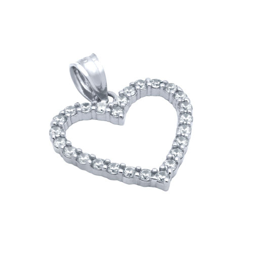 RHODIUM PLATED 17MM CZ OUTLINE HEART PENDANT