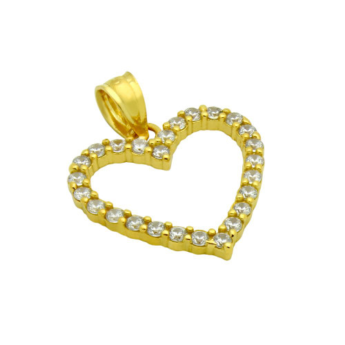 GOLD PLATED 17MM CZ OUTLINE HEART PENDANT