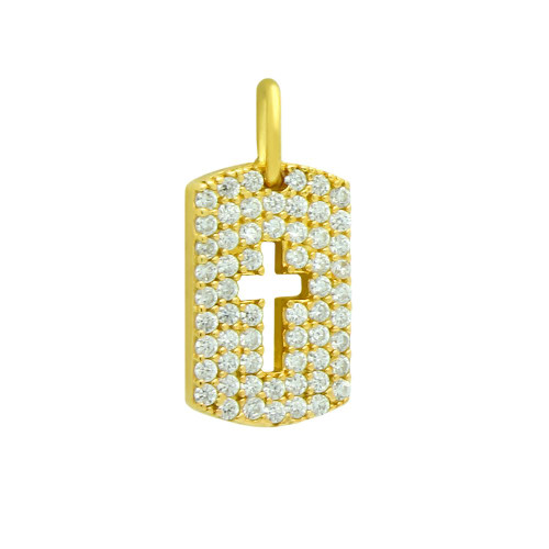 GOLD PLATED CZ PAVE TAG PENDANT WITH CUTOUT CROSS