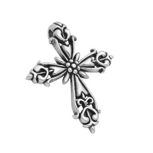 TWISTED BLADE SILVER 60MM ORNATE FLEUR DE LIS CROSS PENDANT
