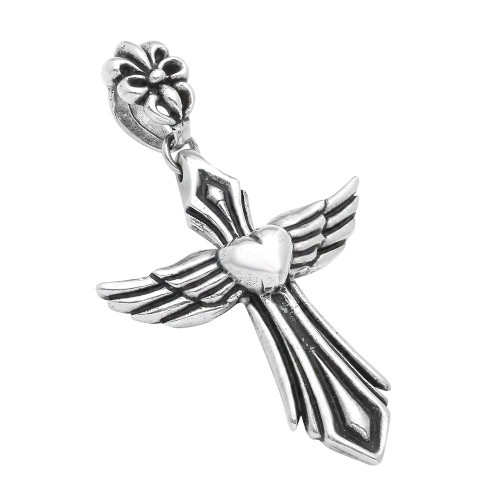TWISTED BLADE SILVER 74MM HEART AND WINGS STYLIZED CROSS