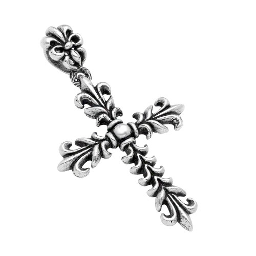 TWISTED BLADE SILVER 76MM FLEUR DE LIS CROSS PENDANT