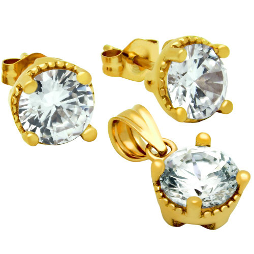 GOLD PLATED ROUND CZ SET PENDANT AND STUD EARRINGS