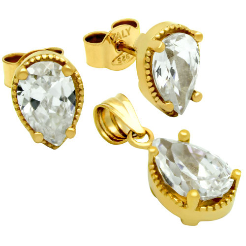 GOLD PLATED PEAR SHAPE CZ SET PENDANT AND STUD EARRINGS