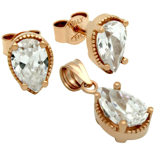 ROSE GOLD PLATED PEAR SHAPE CZ SET PENDANT AND STUD EARRINGS