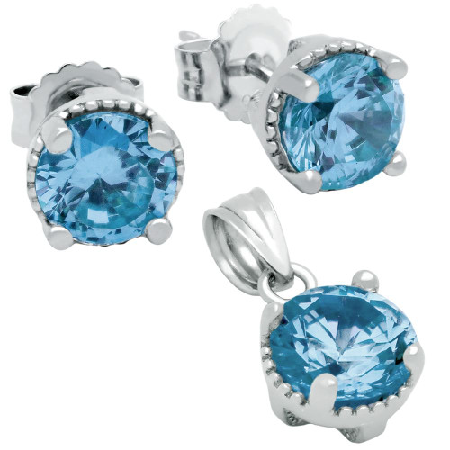 RHODIUM PLATED DECEMBER BIRTHSTONE BLUE TOPAZ COLOR ROUND CZ SET PENDANT AND EARRINGS