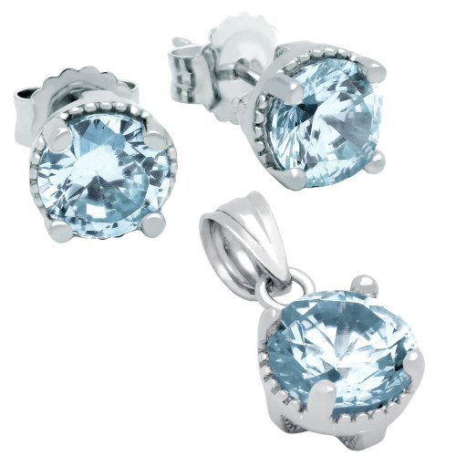 RHODIUM PLATED MARCH BIRTHSTONE AQUAMARINE BLUE ROUND CZ SET PENDANT AND EARRINGS