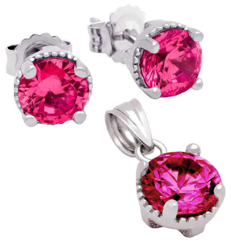 RHODIUM PLATED JULY BIRTHSTONE RUBY RED ROUND CZ SET PENDANT AND EARRINGS