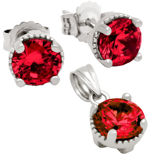 RHODIUM PLATED JANUARY BIRTHSTONE GARNET RED ROUND CZ SET PENDANT AND EARRINGS