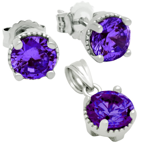 RHODIUM PLATED FEBRUARY BIRTHSTONE AMETHYST PURPLE ROUND CZ SET PENDANT AND EARRINGS