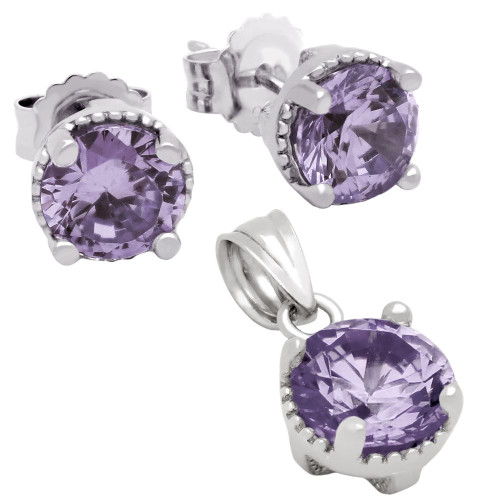 RHODIUM PLATED JUNE BIRTHSTONE ALEXANDRITE LIGHT PURPLE ROUND CZ SET PENDANT AND EARRINGS