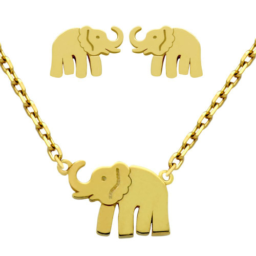 "GOLD PLATED SET: ELEPHANT EARRINGS AND 16+2"" NECKLACE"