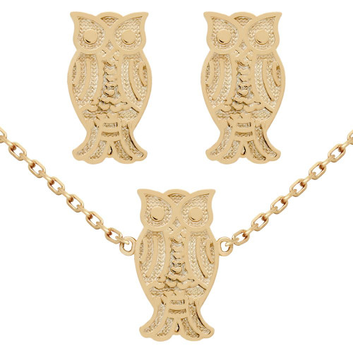 "ROSE GOLD PLATED SET: OWL EARRINGS AND 16+2"" NECKLACE"
