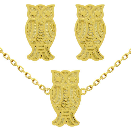"GOLD PLATED SET: OWL EARRINGS AND 16+2"" NECKLACE"