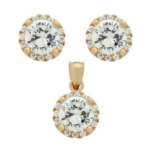 ROSE GOLD PLATED SET: 6.5MM ROUND CZ EARRINGS AND PENDANT WITH CZ HALO