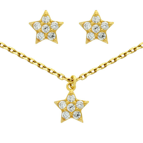 """GOLD PLATED SET: CZ CLUSTER STAR EARRINGS AND 16+2"""" NECKLACE"""